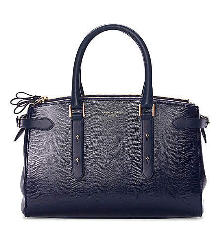 ASPINAL OF LONDON Brook street lizard-embossed leather tote bag (Navy