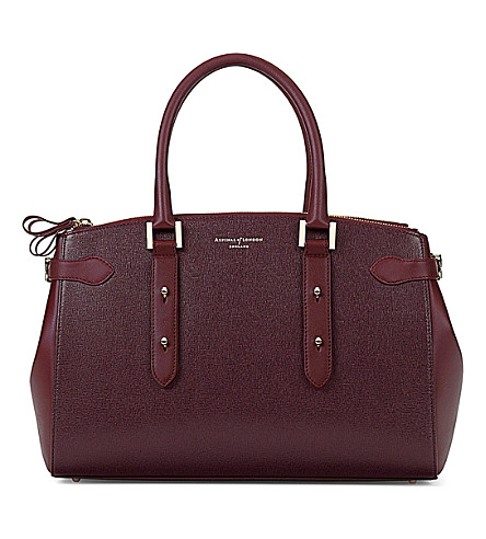 ASPINAL OF LONDON Brook Street Saffiano-leather tote bag (Burgundy