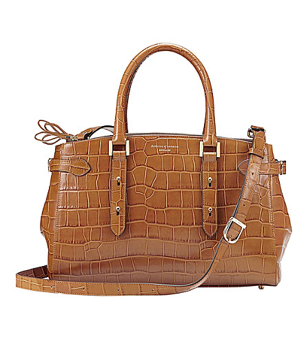ASPINAL OF LONDON Brook street crocodile-embossed leather bag (Tan