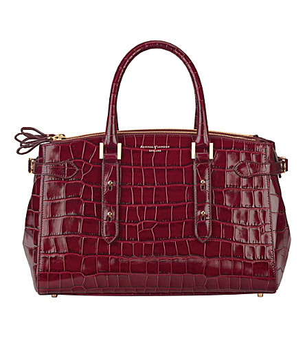 ASPINAL OF LONDON Brook Street mock-croc leather tote bag (Burgundy