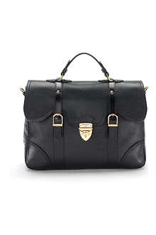 ASPINAL Mollie Satchel Handbag Black Pebble