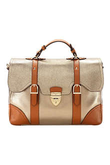 ASPINAL Mollie metallic grained-leather satchel