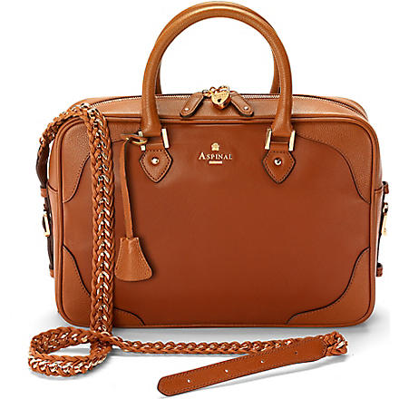 ASPINAL Sofia leather shoulder bag (Tan & tan pebble