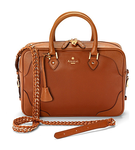 ASPINAL OF LONDON Sofia bag smooth tan & tan pebble trim (Tan & tan pebble