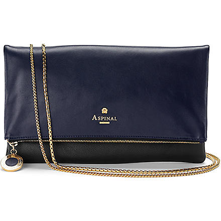 ASPINAL Millie clutch (Black pebble & navy