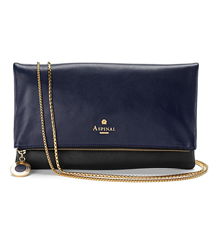 ASPINAL OF LONDON Millie clutch black pebble & smooth navy (Black pebble & navy