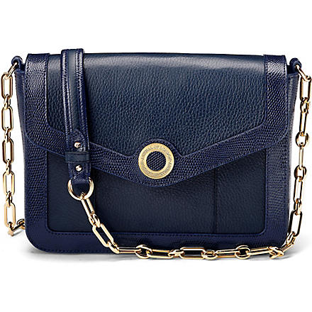 ASPINAL Victoria leather shoulder bag (Navy pebble & navy