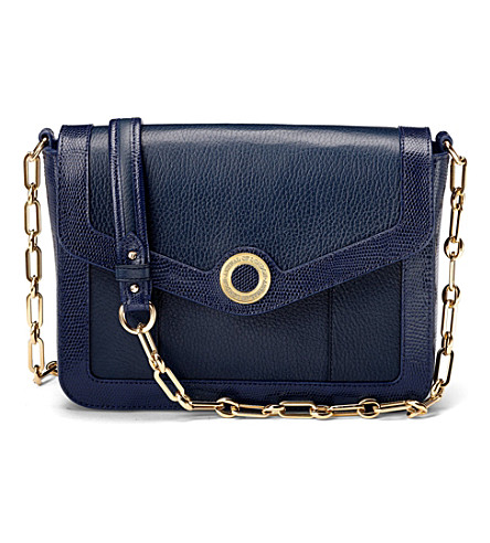 ASPINAL OF LONDON Victoria bag navy pebble & navy lizard (Navy pebble & navy