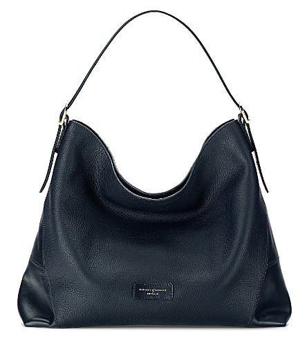 ASPINAL OF LONDON Pebble-leather hobo bag (Navy