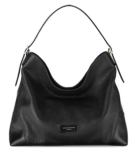 ASPINAL OF LONDON Pebble-leather hobo bag (Black