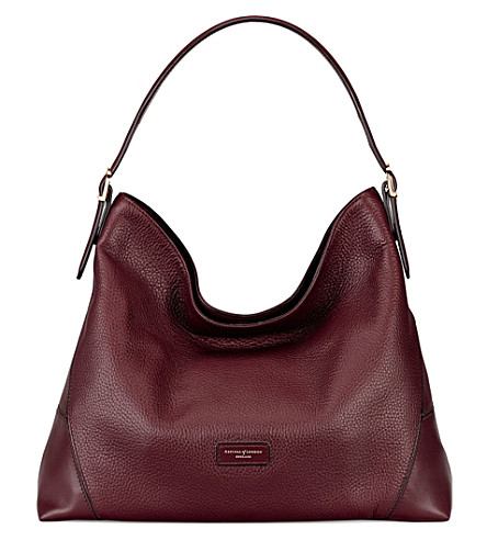 ASPINAL OF LONDON Hobo pebbled-leather bag (Burgundy