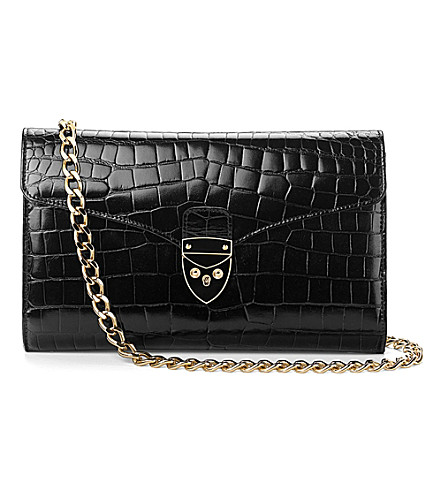 ASPINAL OF LONDON Manhattan croc leather clutch bag (Black