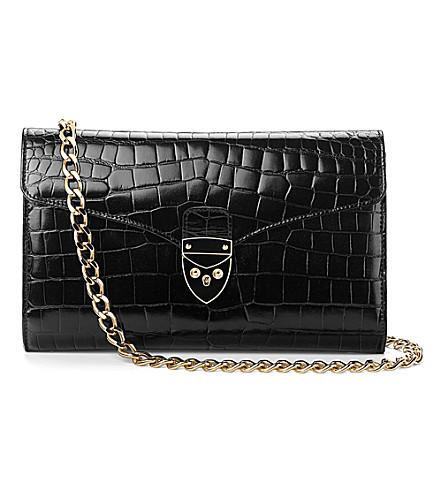 ASPINAL OF LONDON Manhattan croc leather clutch bag (Black