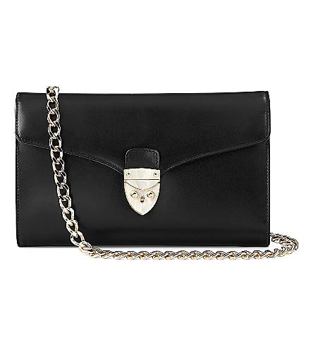ASPINAL OF LONDON Manhattan leather clutch bag (Black
