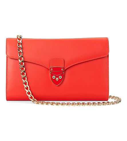 ASPINAL OF LONDON New manhattan clutch w chain smooth popp (Poppy