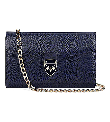 ASPINAL OF LONDON Manhattan leather clutch bag (Navy