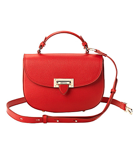ASPINAL OF LONDON Letterbox leather saddle bag (Berry