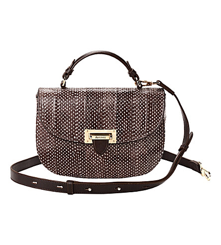 ASPINAL OF LONDON Leatherbox snakeskin leather saddle bag (Pheasant