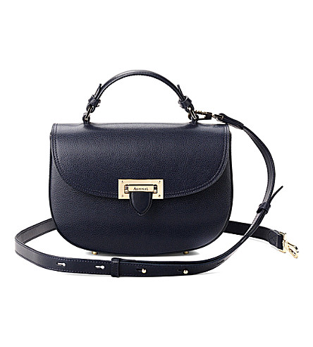 ASPINAL OF LONDON Letterbox leather saddle bag (Navy
