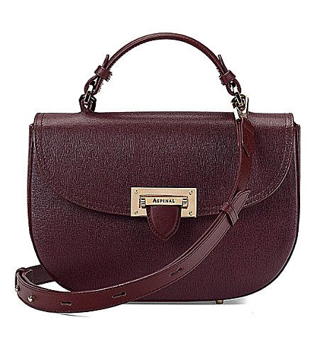 ASPINAL OF LONDON Letterbox leather saddle bag (Burgundy
