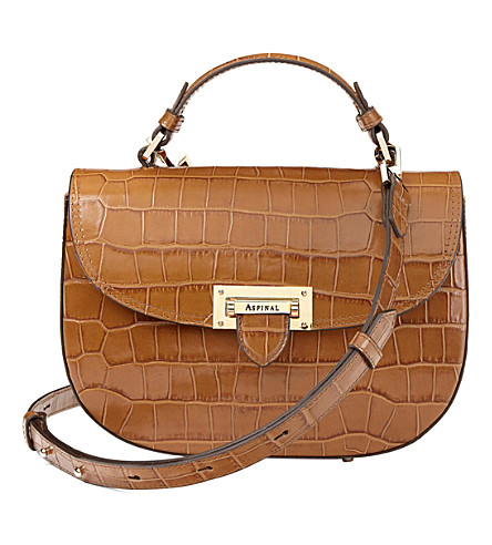 ASPINAL OF LONDON Letterbox mock-croc leather saddle bag (Natural+tan