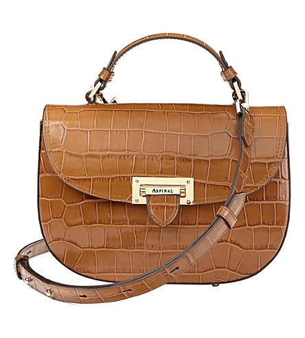 ASPINAL OF LONDON Letterbox mock-croc leather saddle bag (Natural+tan