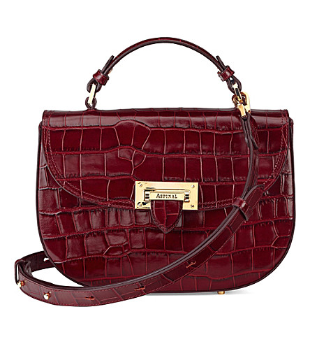 ASPINAL OF LONDON Saddle mock-croc leather saddle bag (Burgundy
