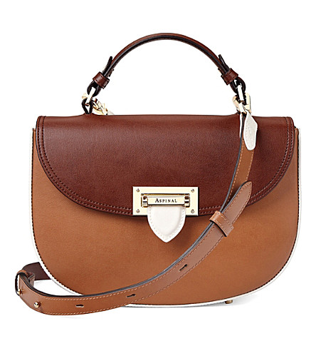 ASPINAL OF LONDON Saddle leather saddle bag (Natural+tan