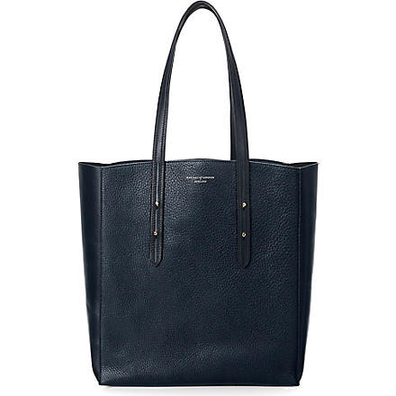 ASPINAL OF LONDON Essential leather shopper (Navy