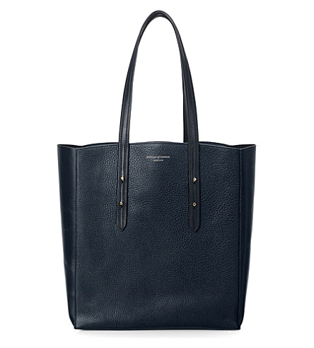 ASPINAL OF LONDON Essential pebbled-leather tote bag (Navy