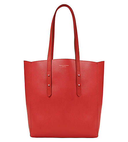 ASPINAL OF LONDON Essential leather tote bag (Scarlet