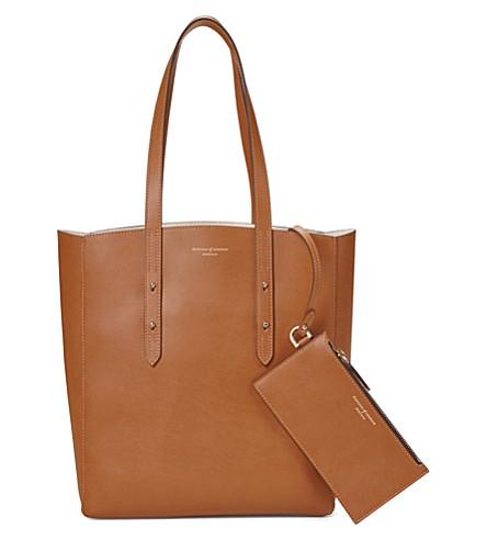 ASPINAL OF LONDON 基本皮革托特包袋 (棕褐色