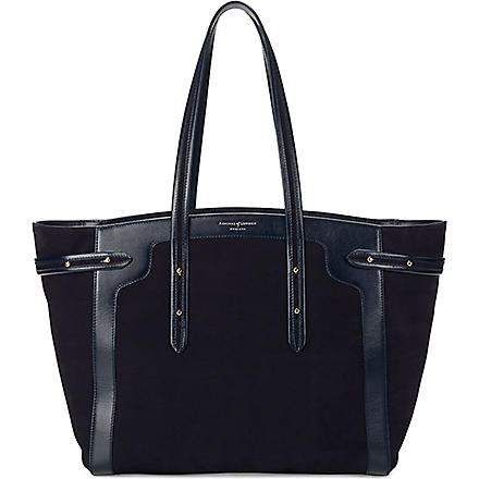 ASPINAL OF LONDON Marylebone Light nubuck leather tote bag (Navy