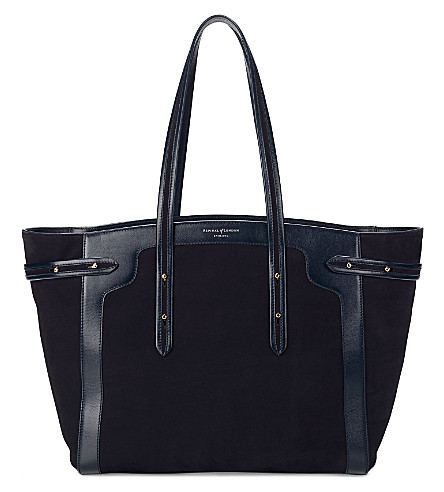 ASPINAL OF LONDON Marylebone Light leather tote bag (Navy