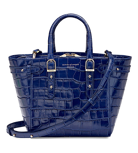ASPINAL OF LONDON Marylebone mini leather tote bag (Navy