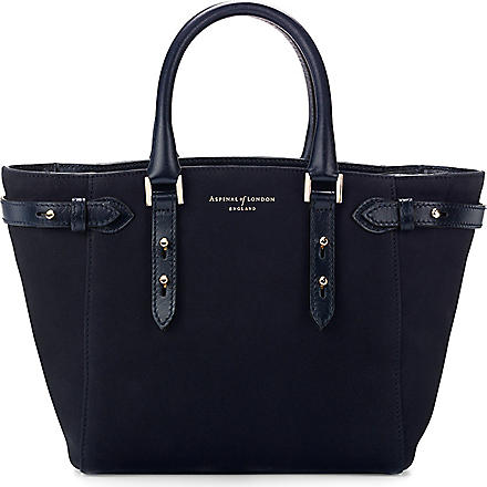 ASPINAL OF LONDON Marylebone mini Nubuck leather tote (Navy