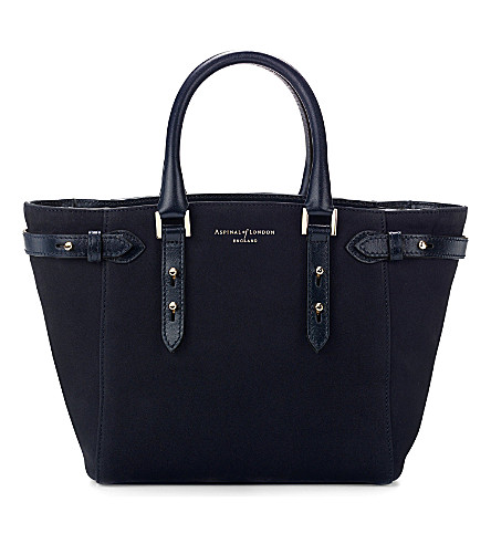 ASPINAL OF LONDON Marylebone mini nubuck tote bag (Navy