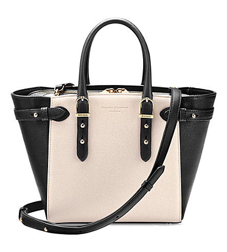 ASPINAL OF LONDON Mini Marylebone saffiano leather tote (Monochrome