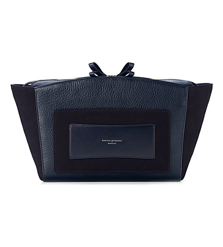 ASPINAL OF LONDON Marylebone leather clutch (Navy