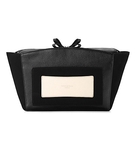 ASPINAL OF LONDON Marylebone leather clutch bag (Black