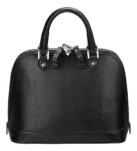 ASPINAL OF LONDON Mini Hepburn lizard-embossed leather tote bag (Black