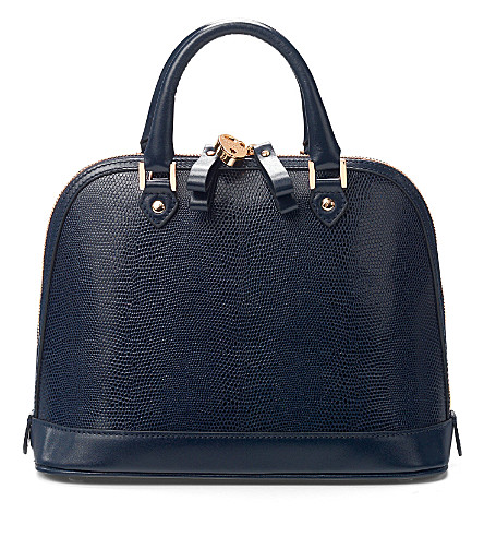 ASPINAL OF LONDON Mini Hepburn lizard-print leather tote (Navy