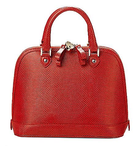 ASPINAL OF LONDON Mini Hepburn lizard-embossed leather tote bag (Berry