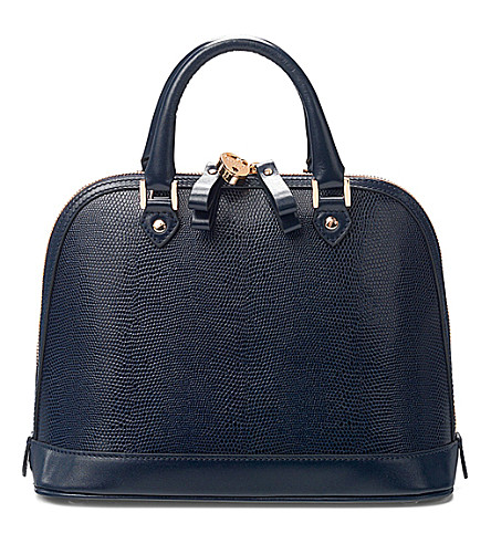 ASPINAL OF LONDON Mini Hepburn lizard-embossed leather tote bag (Blue