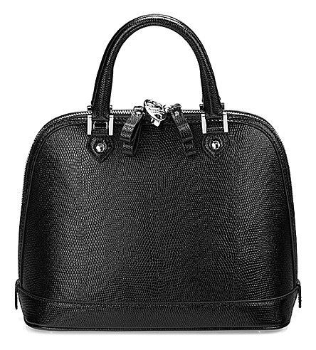 ASPINAL OF LONDON Mini hepburn lizard-embossed leather tote bag (Black