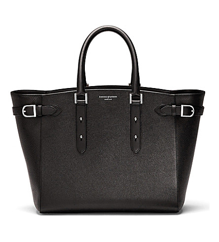 ASPINAL OF LONDON Marylebone Tech leather tote bag (Black