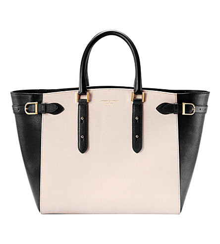 ASPINAL OF LONDON Marylebone Tech monochrome leather tote bag (Monochrome