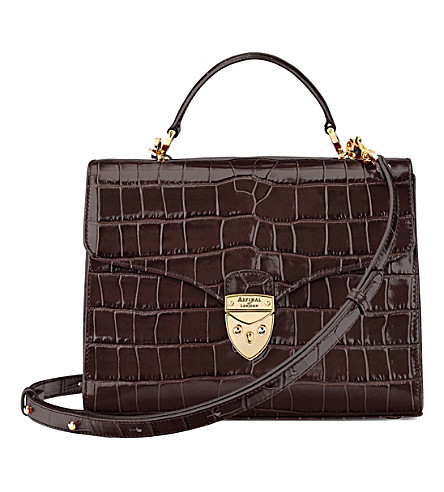 ASPINAL OF LONDON Mayfair croc-embossed leather cross-body bag (Amazon+brown