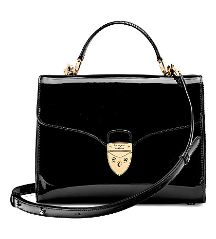 ASPINAL OF LONDON Mayfair patent-leather bag (Black