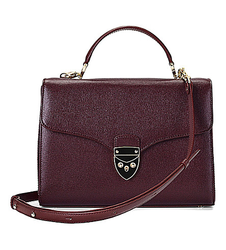 ASPINAL OF LONDON Mayfair Saffiano leather cross-body bag (Burgundy